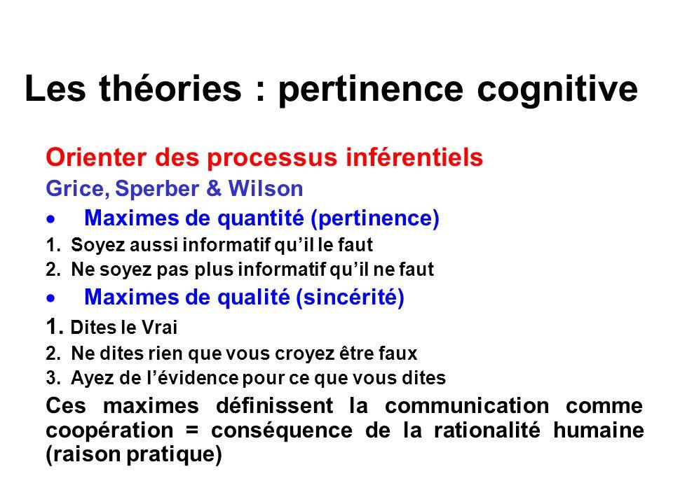 Les théories : pertinence cognitive