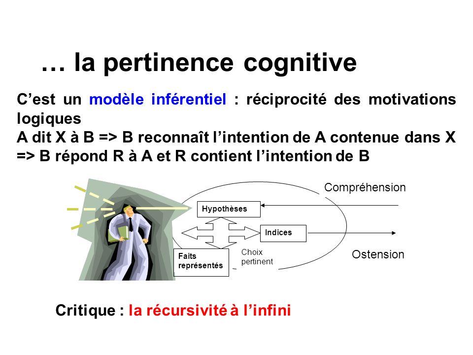 … la pertinence cognitive