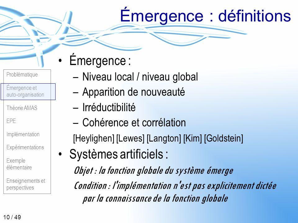 Émergence : définitions