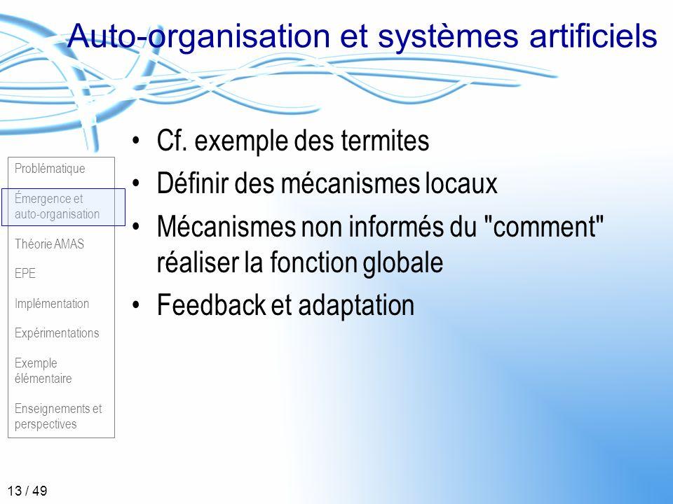 Auto-organisation et systèmes artificiels