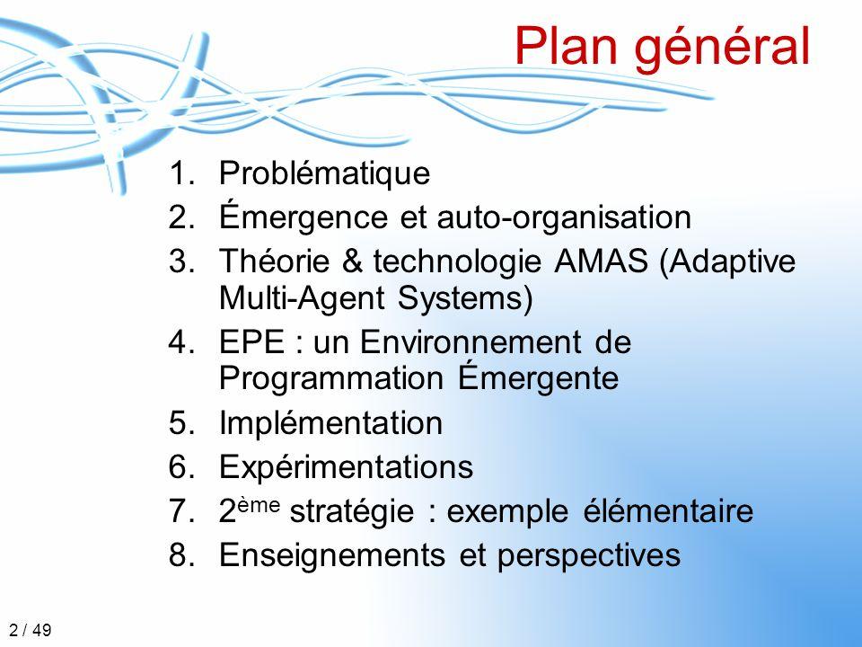 Plan général Problématique Émergence et auto-organisation