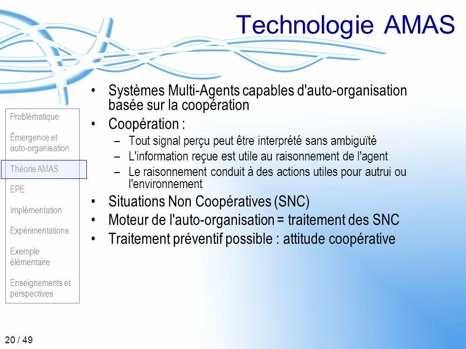 Technologie AMAS Systèmes Multi-Agents capables d auto-organisation basée sur la coopération. Coopération :
