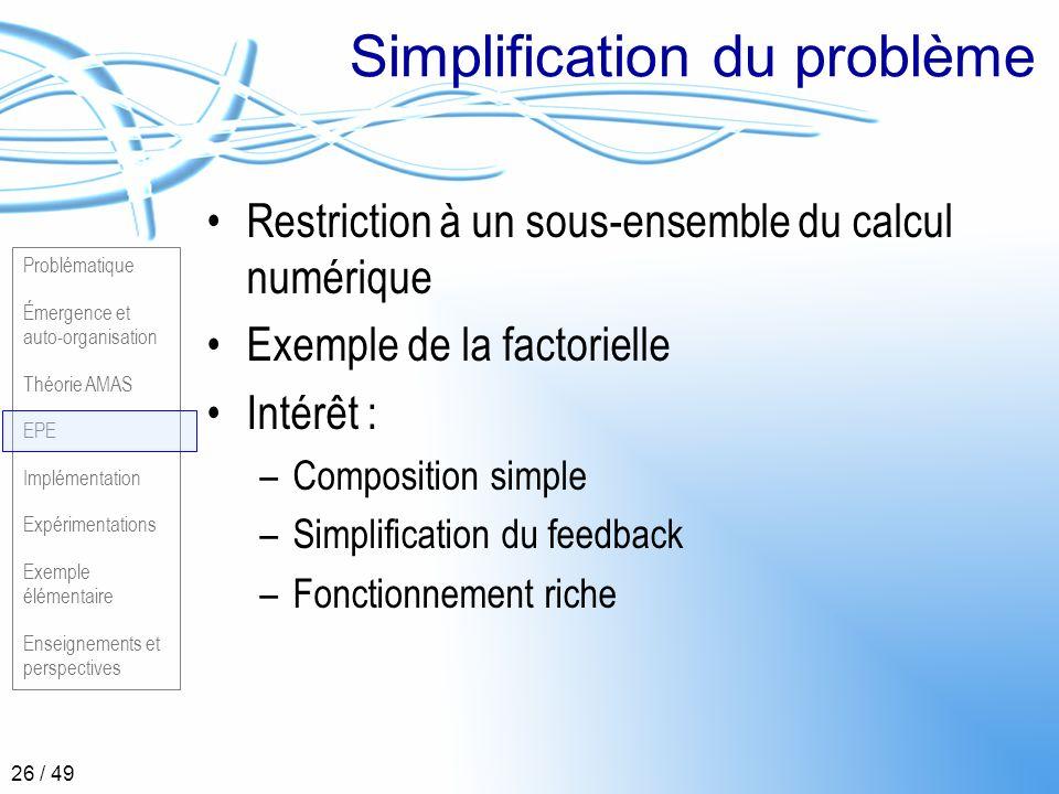Simplification du problème