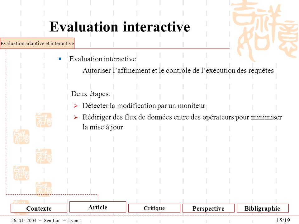 Evaluation interactive