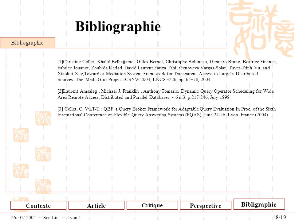Bibliographie Bibligraphie Contexte Article Perspective Bibliographie