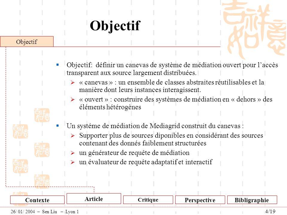 Objectif Objectif. Objectif: définir un canevas de système de médiation ouvert pour l'accès transparent aux source largement distribuées.