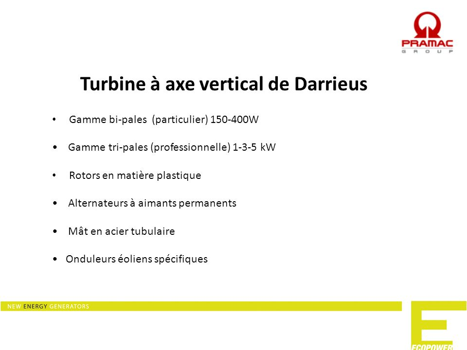 Turbine à axe vertical de Darrieus