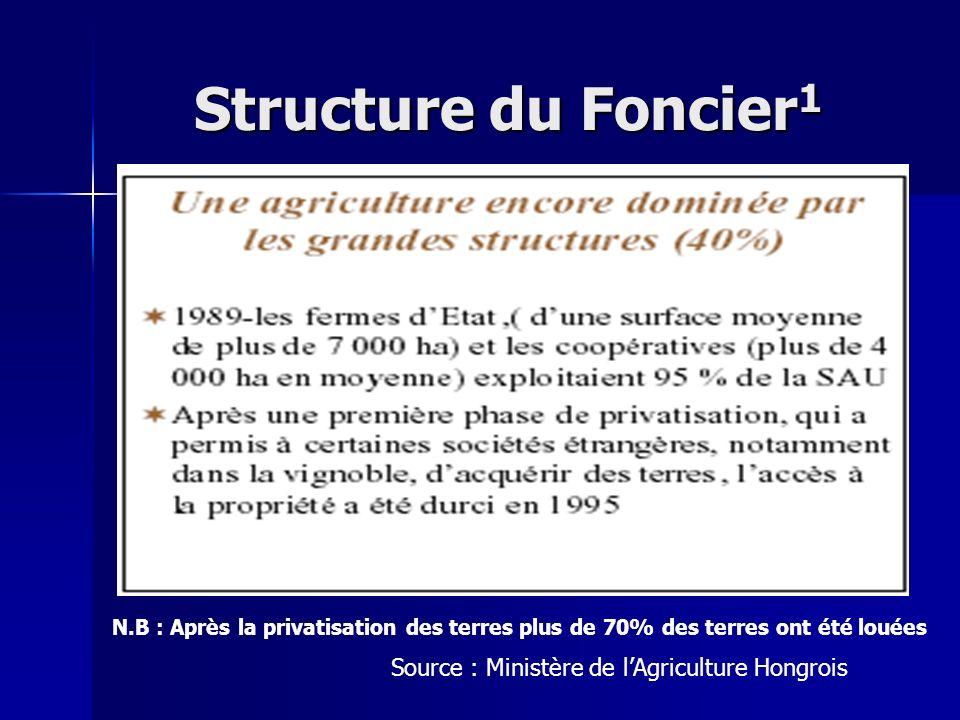 Structure du Foncier1 Source : Ministère de l'Agriculture Hongrois
