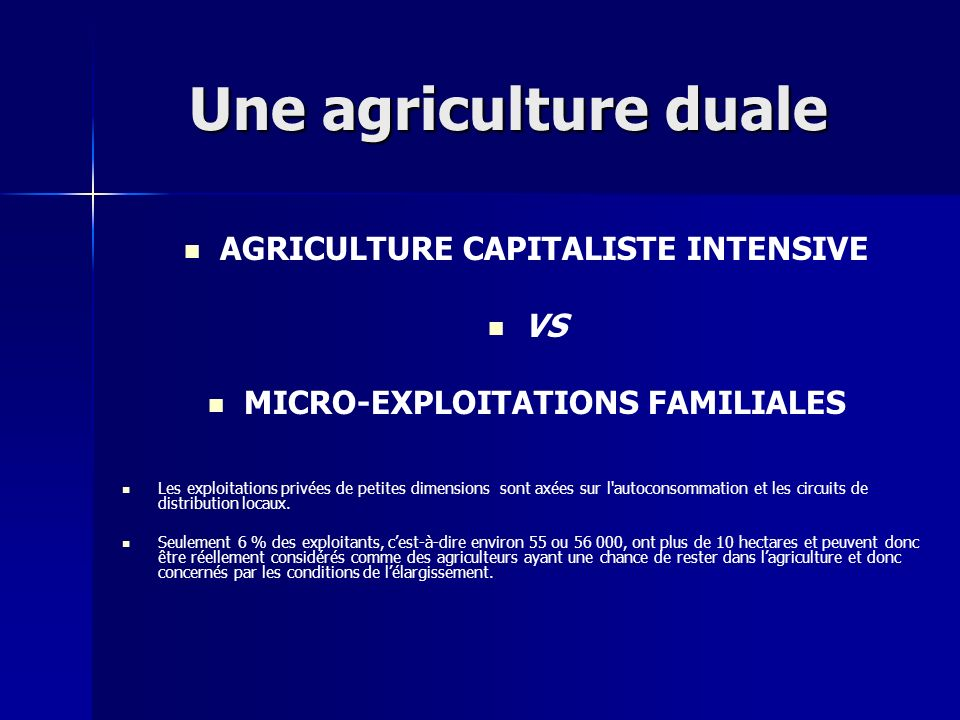 AGRICULTURE CAPITALISTE INTENSIVE MICRO-EXPLOITATIONS FAMILIALES