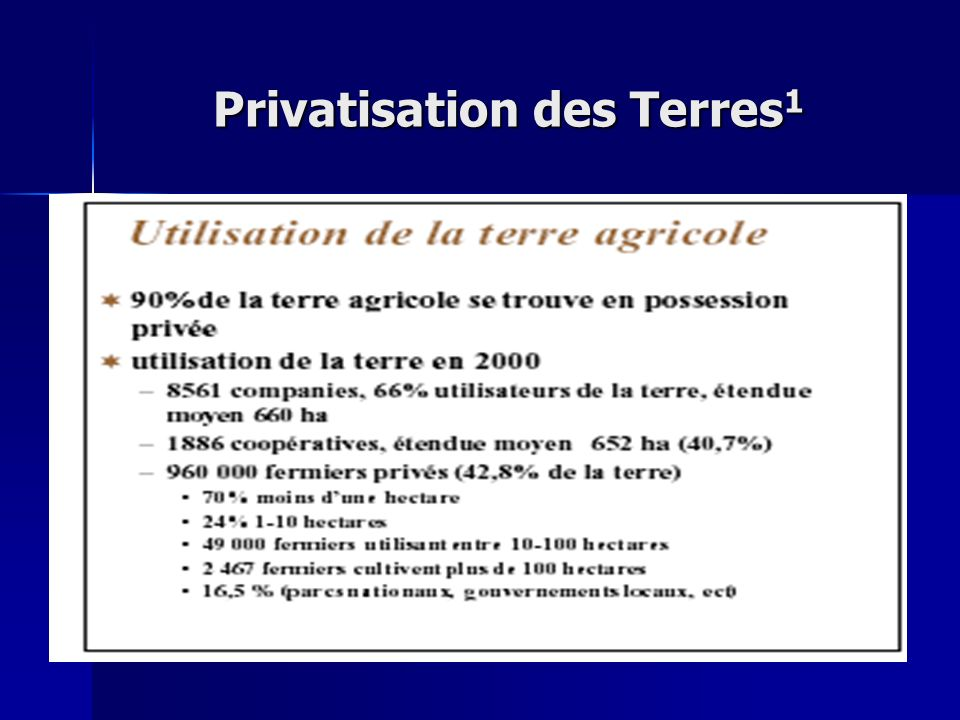Privatisation des Terres1
