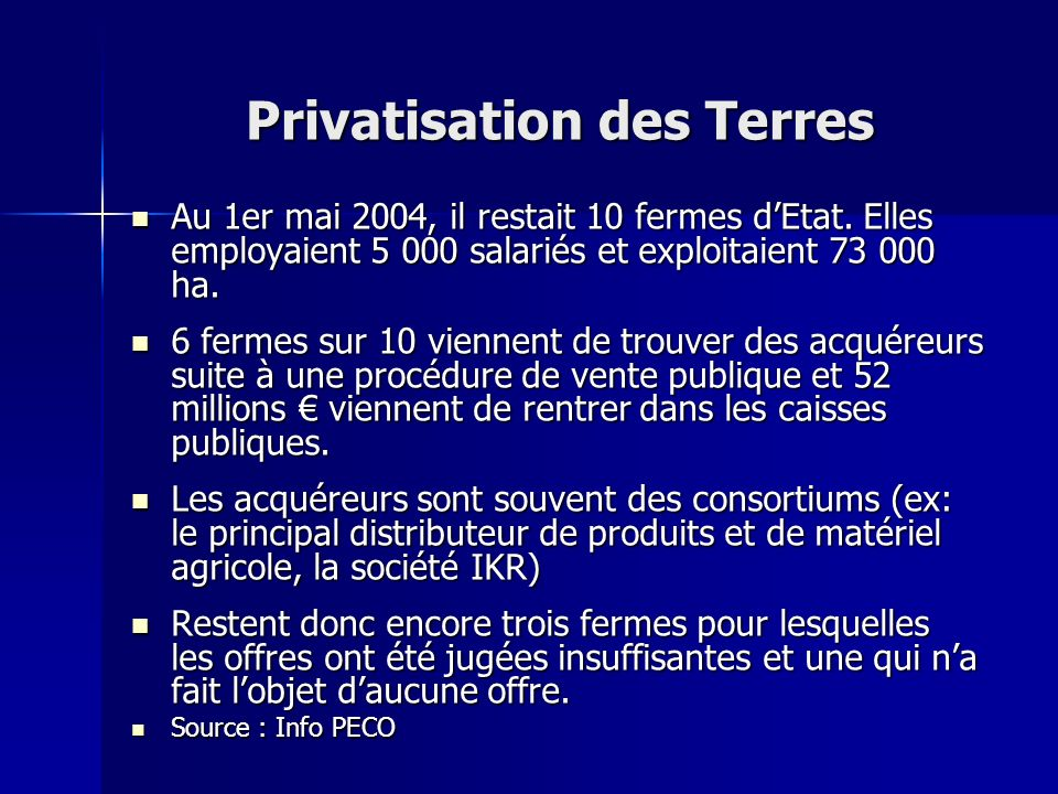 Privatisation des Terres