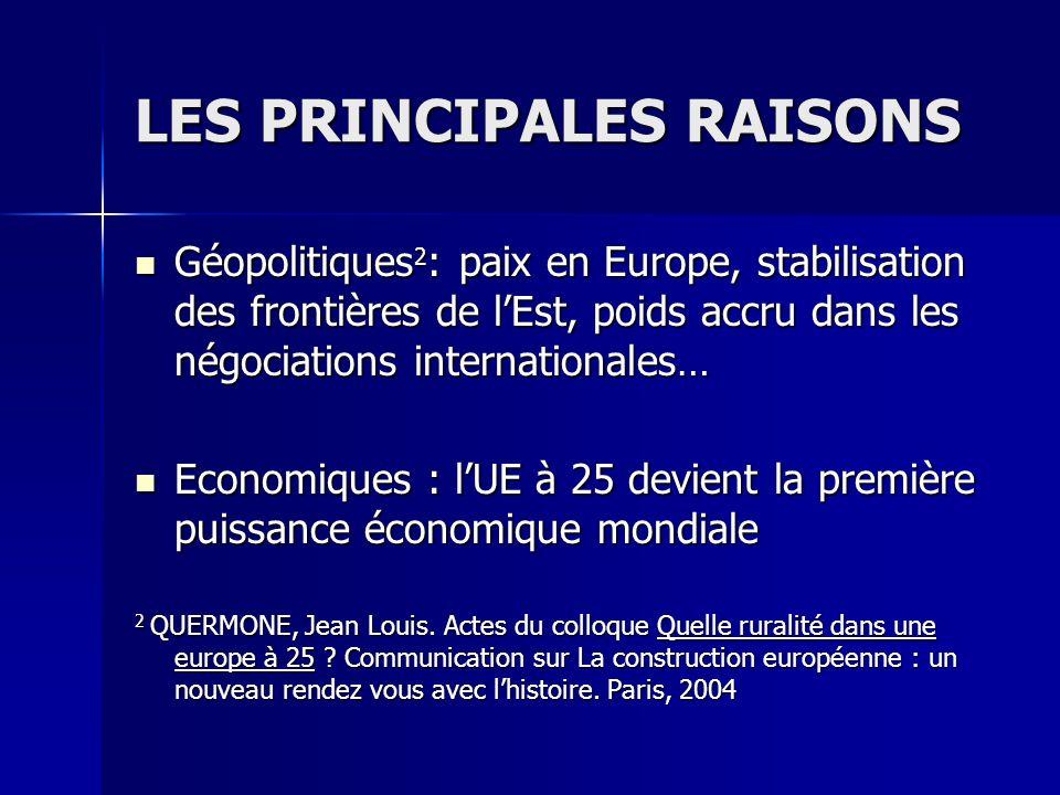 LES PRINCIPALES RAISONS