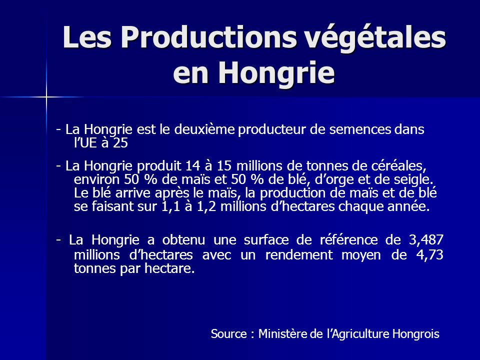 Les Productions végétales en Hongrie