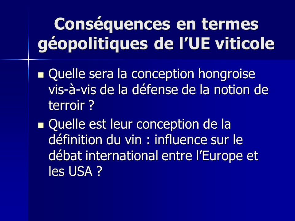 Conséquences en termes géopolitiques de l'UE viticole
