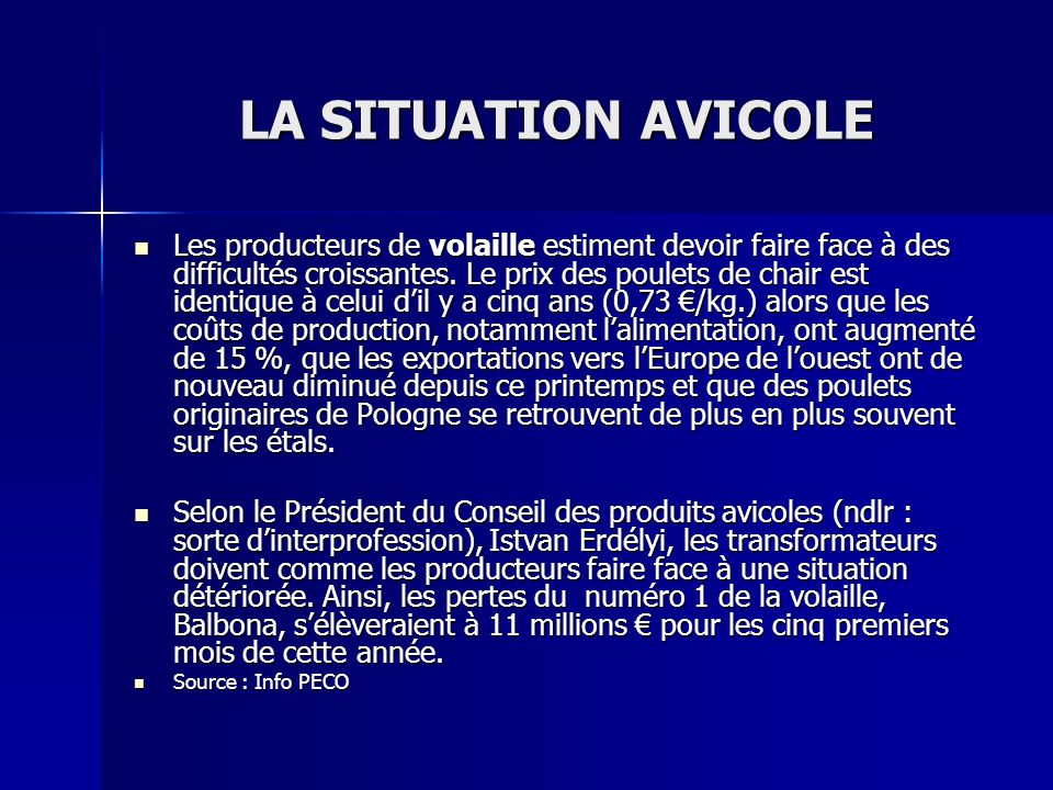 LA SITUATION AVICOLE