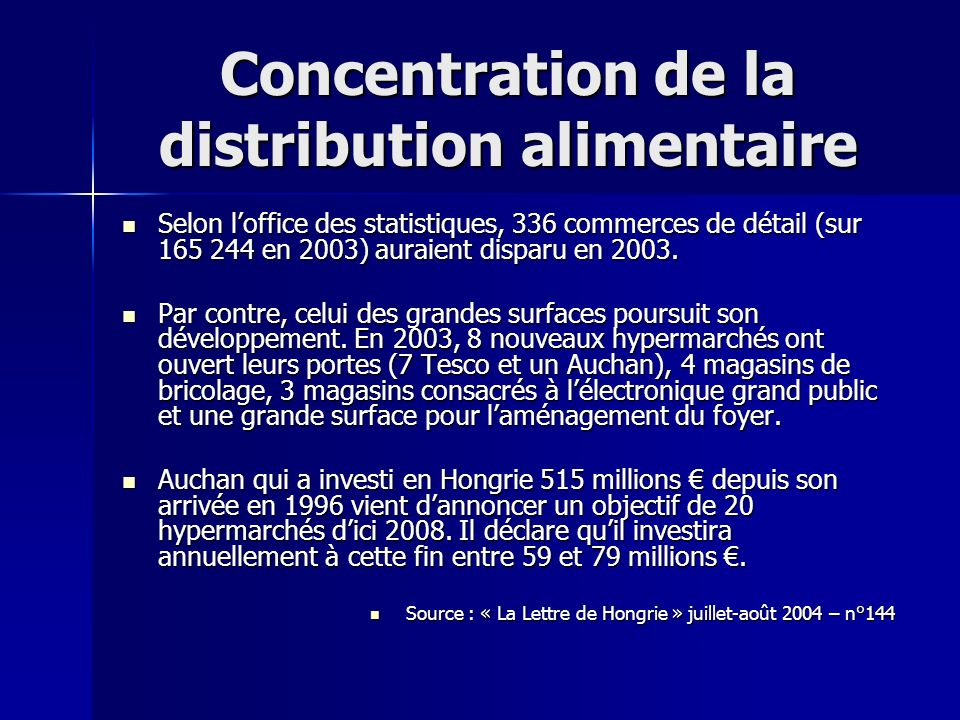 Concentration de la distribution alimentaire
