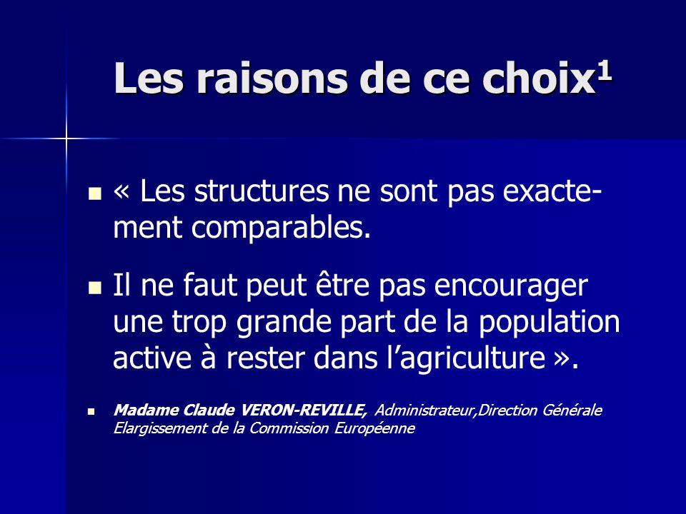 Les raisons de ce choix1 « Les structures ne sont pas exacte-ment comparables.