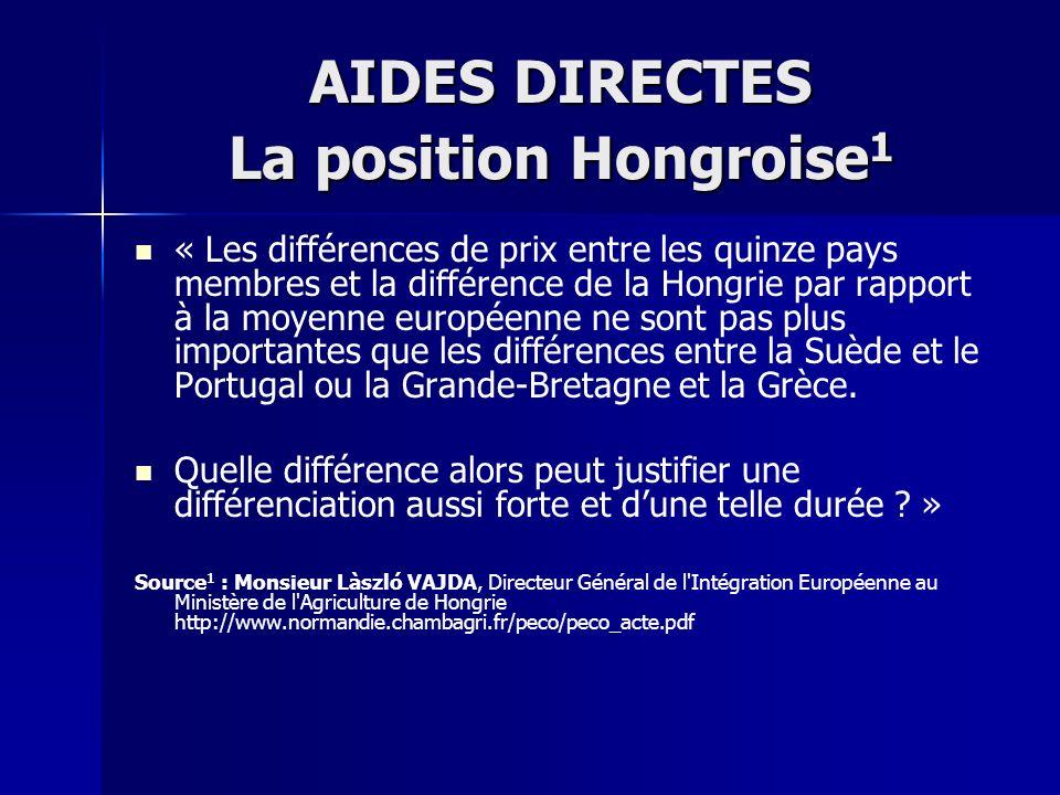 AIDES DIRECTES La position Hongroise1
