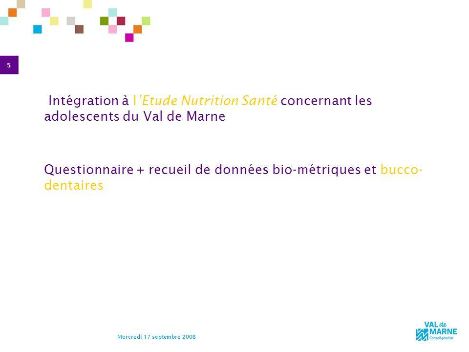 Questionnaire + recueil de données bio-métriques et bucco- dentaires