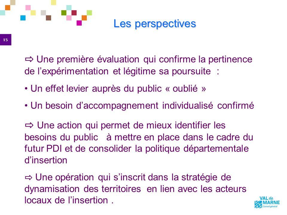 Les perspectives ⇨ Une première évaluation qui confirme la pertinence de l'expérimentation et légitime sa poursuite :