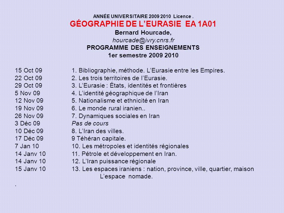 GÉOGRAPHIE DE L'EURASIE EA 1A01