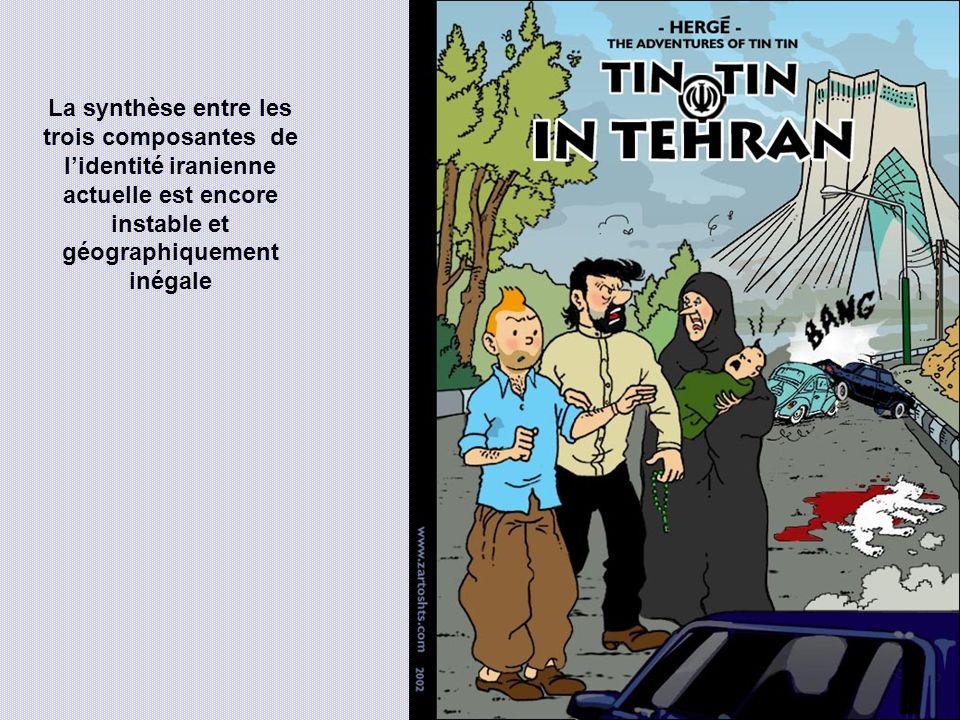 La synthèse entre les trois composantes de l'identité iranienne actuelle est encore instable et géographiquement inégale