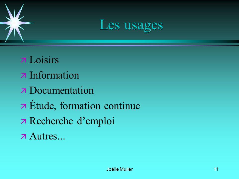 Les usages Loisirs Information Documentation Étude, formation continue