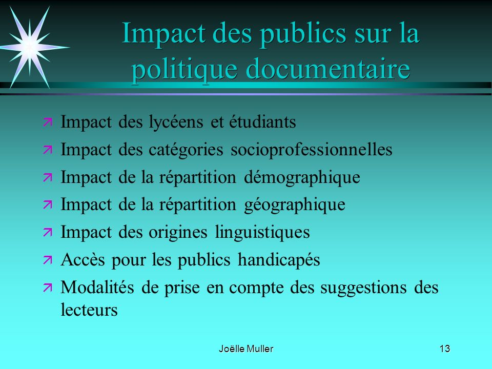 Impact des publics sur la politique documentaire