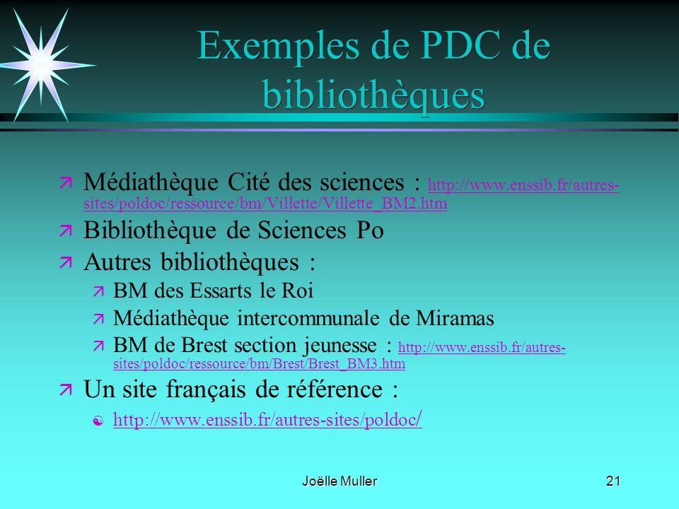 Exemples de PDC de bibliothèques