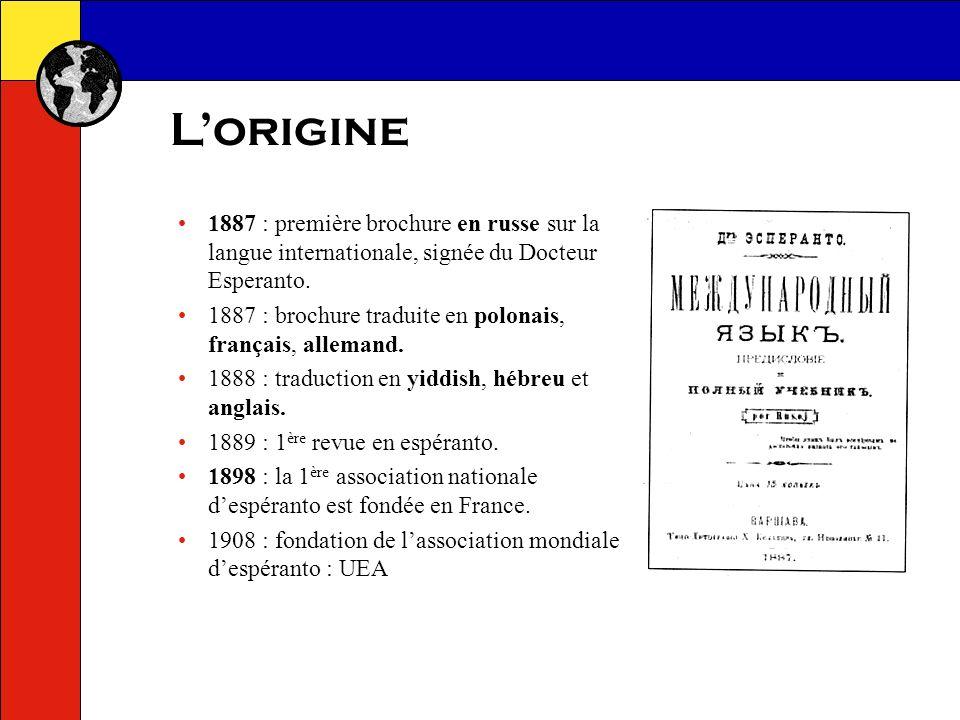 L'origine 1887 : première brochure en russe sur la langue internationale, signée du Docteur Esperanto.