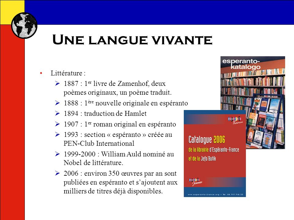 Une langue vivante Littérature :