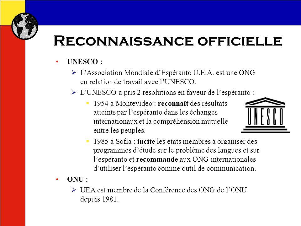 Reconnaissance officielle
