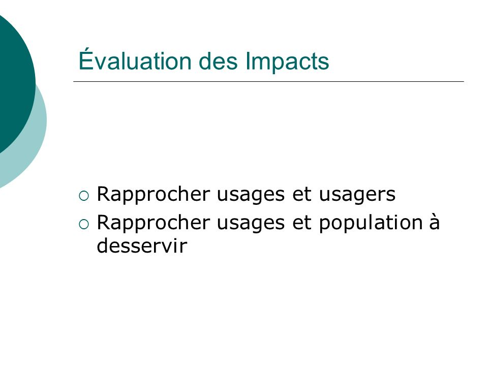 Évaluation des Impacts
