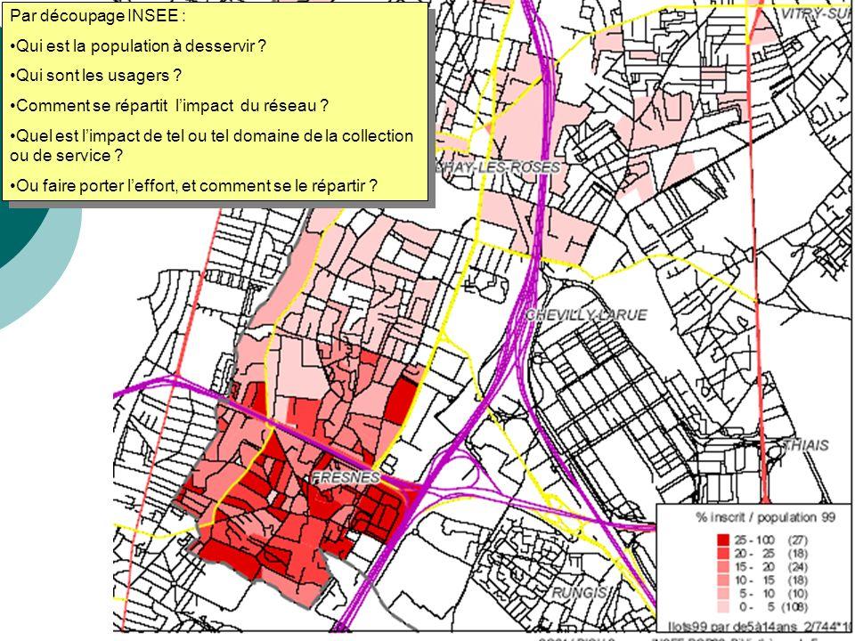 Par découpage INSEE : Qui est la population à desservir Qui sont les usagers Comment se répartit l'impact du réseau