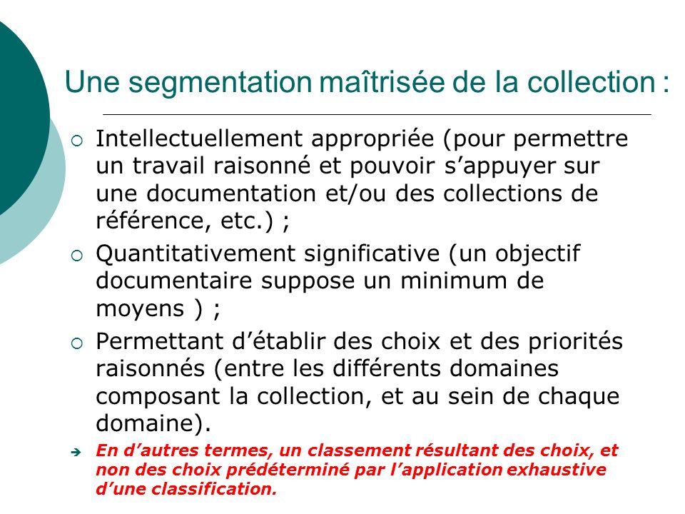 Une segmentation maîtrisée de la collection :