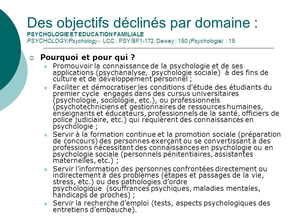 Des objectifs déclinés par domaine : PSYCHOLOGIE ET EDUCATION FAMILIALE PSYCHOLOGY/Psychology - LCC : PSY/BF1-172, Dewey : 150 (Psychologie) : 15
