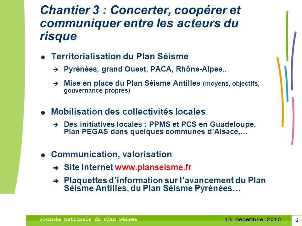 Chantier 3 : Concerter, coopérer et communiquer entre les acteurs du risque