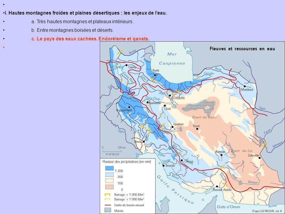 I. Hautes montagnes froides et plaines désertiques : les enjeux de l'eau. a. Très hautes montagnes et plateaux intérieurs.