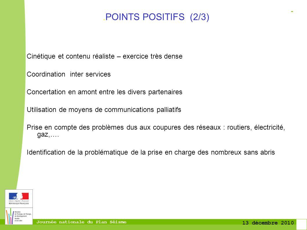 .POINTS POSITIFS (2/3) Cinétique et contenu réaliste – exercice très dense. Coordination inter services.