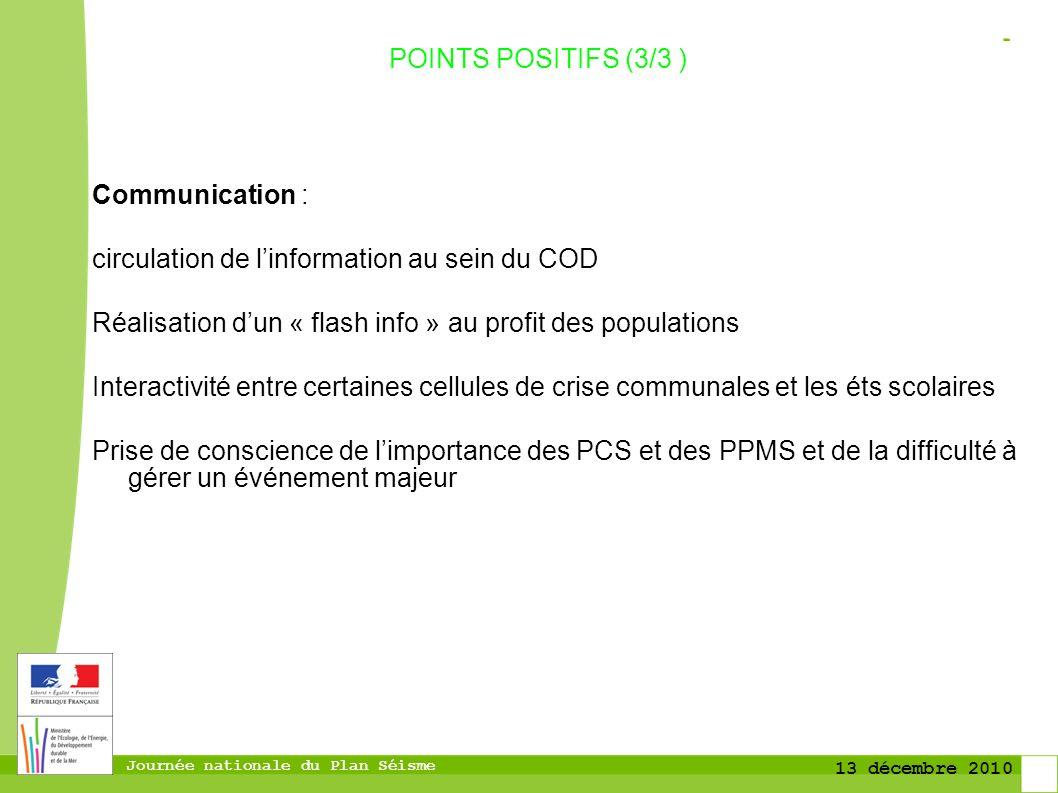 POINTS POSITIFS (3/3 ) Communication : circulation de l'information au sein du COD. Réalisation d'un « flash info » au profit des populations.