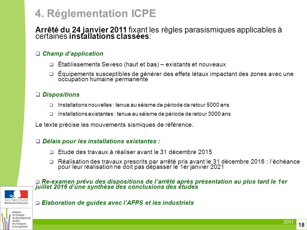 4. Réglementation ICPE Arrêté du 24 janvier 2011 fixant les règles parasismiques applicables à certaines installations classées: