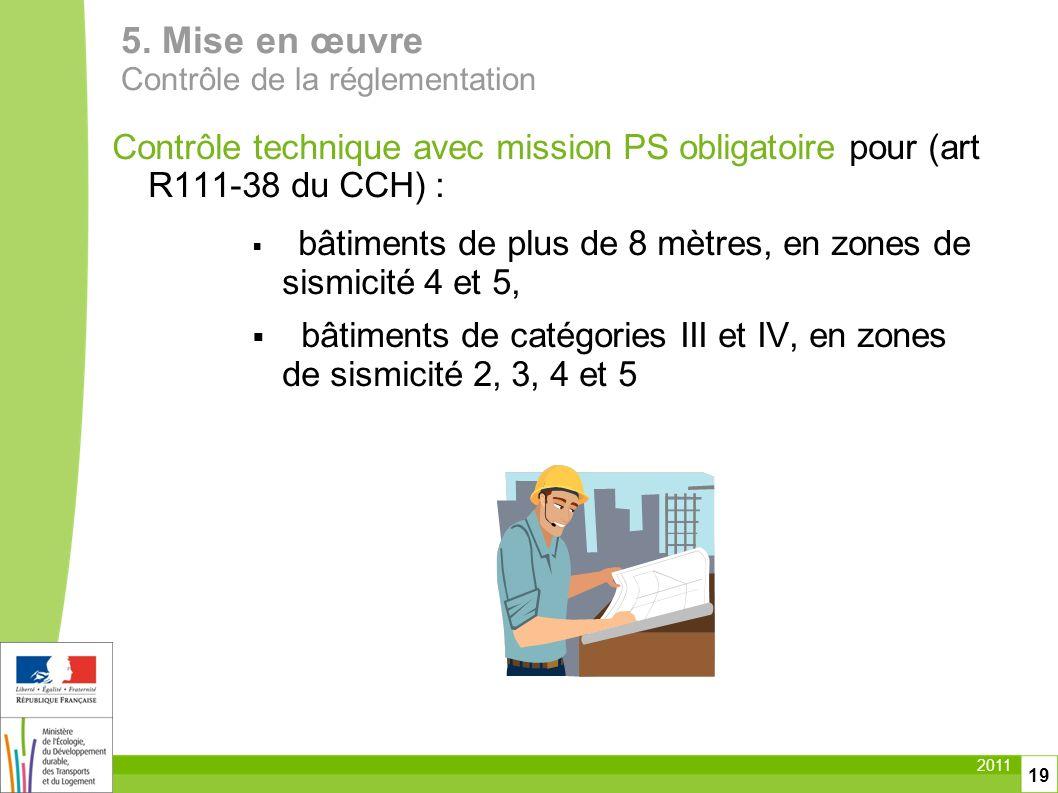 5. Mise en œuvre Contrôle de la réglementation. Contrôle technique avec mission PS obligatoire pour (art R111-38 du CCH) :