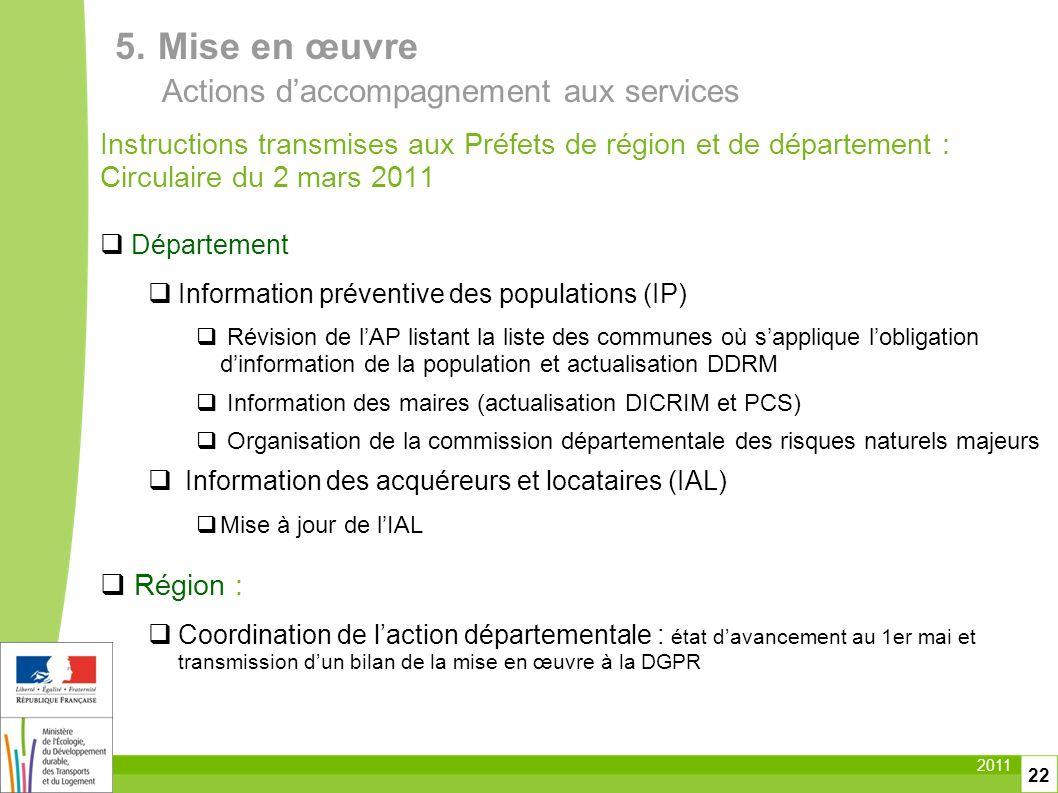 5. Mise en œuvre Actions d'accompagnement aux services