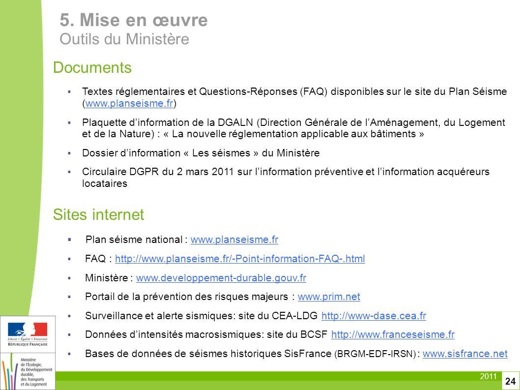 5. Mise en œuvre Outils du Ministère Documents Sites internet
