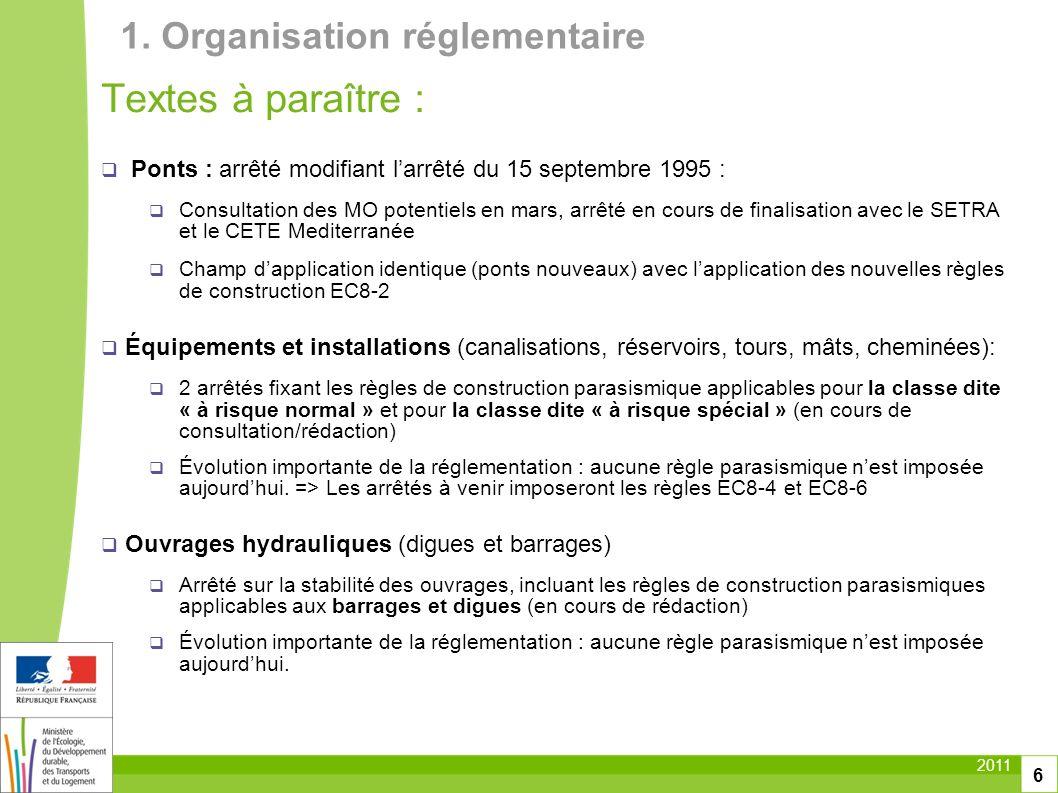 Textes à paraître : 1. Organisation réglementaire