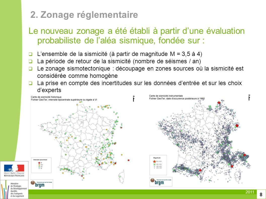 2. Zonage réglementaire Le nouveau zonage a été établi à partir d'une évaluation probabiliste de l'aléa sismique, fondée sur :
