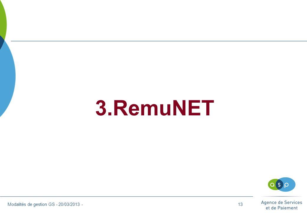 3.RemuNET Modalités de gestion GS - 20/03/2013 -