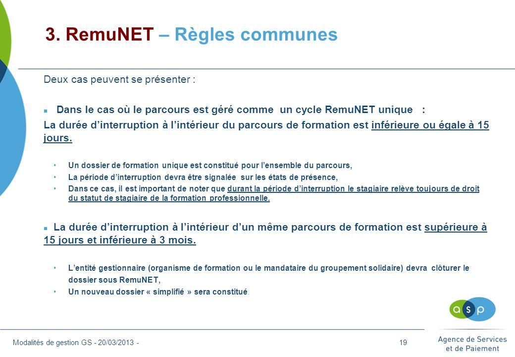 3. RemuNET – Règles communes
