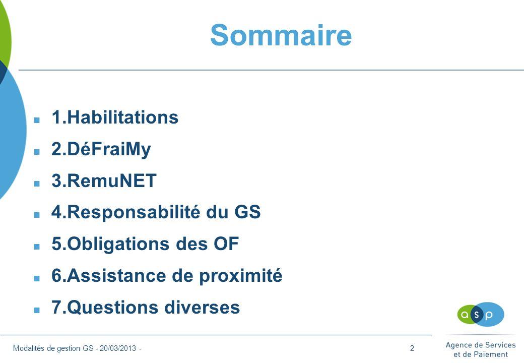 Sommaire 1.Habilitations 2.DéFraiMy 3.RemuNET 4.Responsabilité du GS