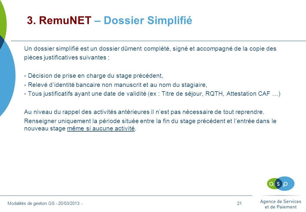 3. RemuNET – Dossier Simplifié